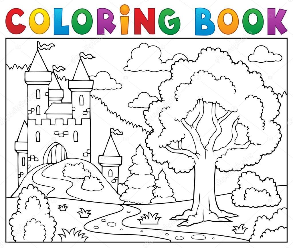 Árbol y el castillo de libro para colorear — Vector de stock ...
