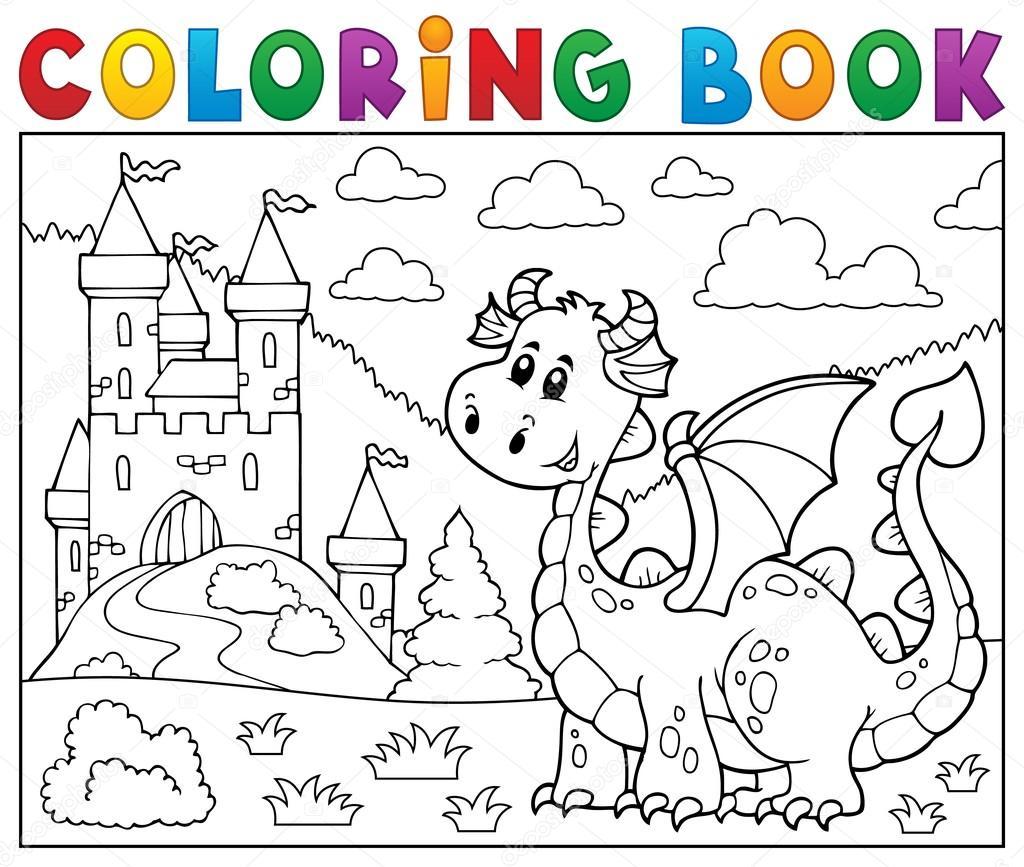Disegni Castelli Fantasy Disegni Da Colorare Drago Libro Vicino
