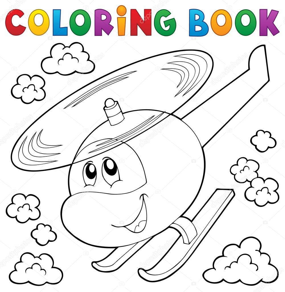 Boyama Kitabı Helikopter Tema 1 Stok Vektör Clairev 102673890