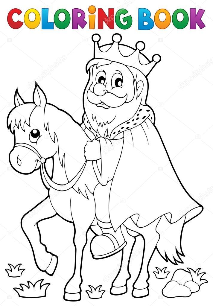 Rey de libro para colorear tema caballo 1 — Archivo Imágenes ...