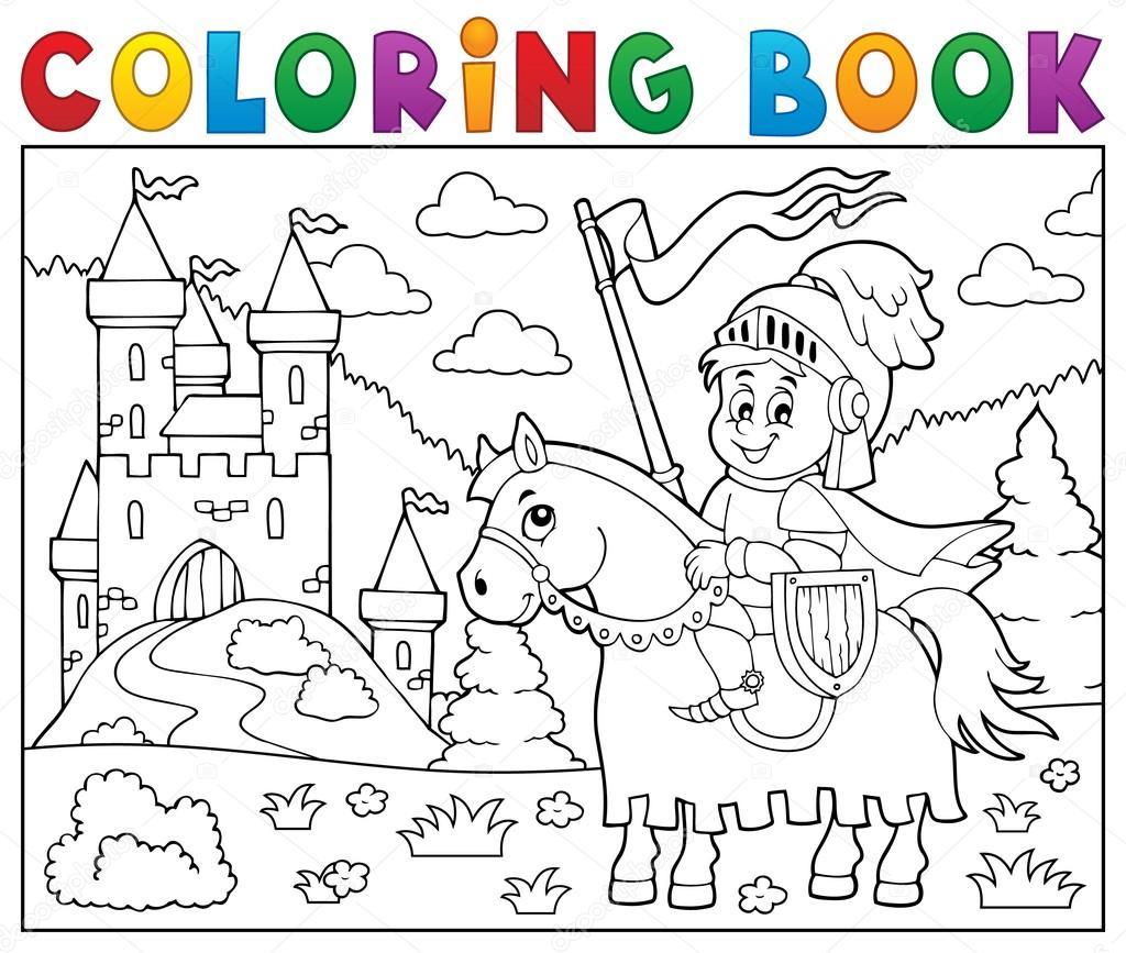 Coloriage Chevalier Livre Sur Cheval Par Chateau Image Vectorielle