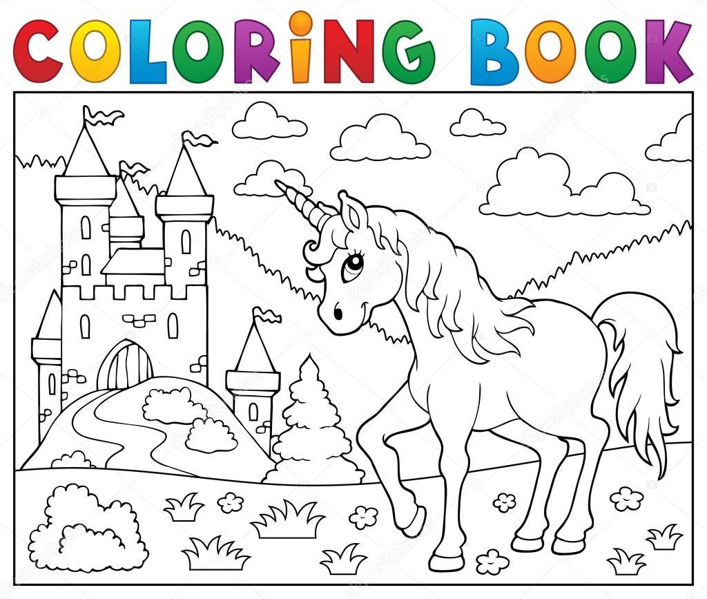Coloriage De Licorne Et De Fee.Coloriage Licorne De Livre Pres Du Chateau Image Vectorielle