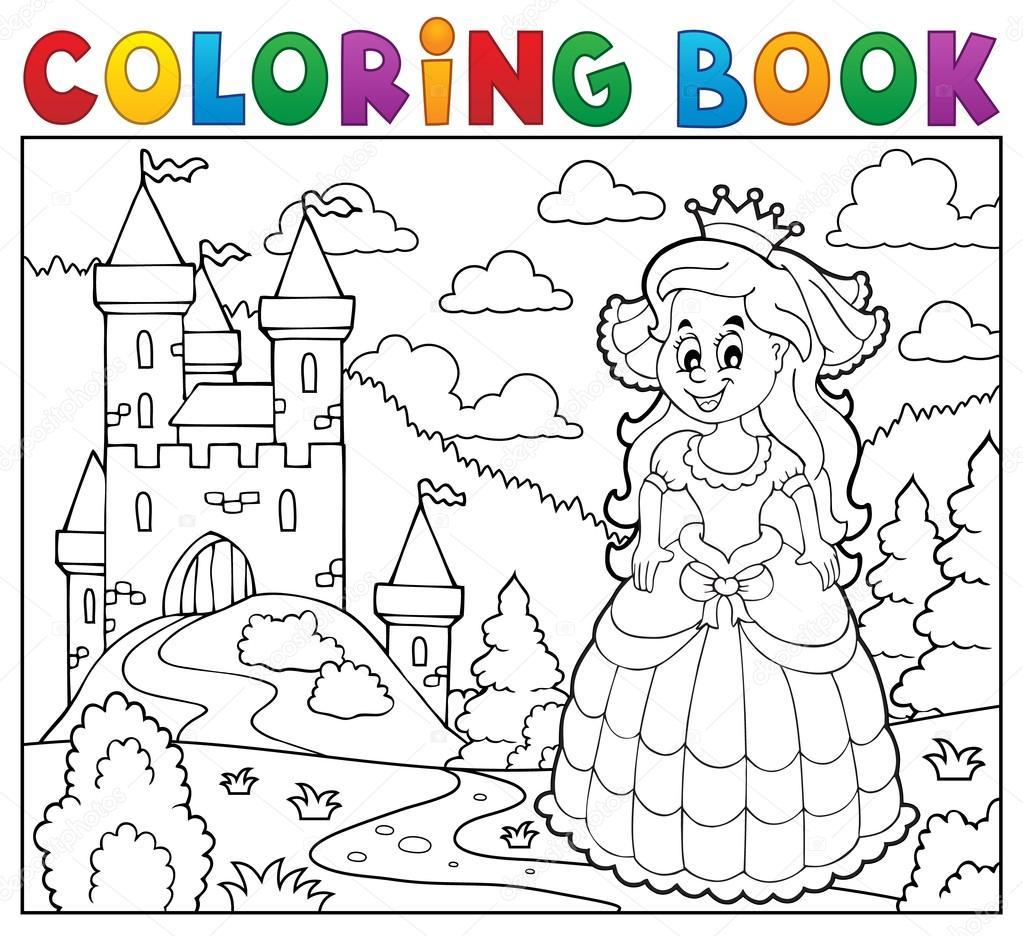 Coloriage Princesse Et Chateau.Coloriage Princesse Heureux Livre Pres Du Chateau Image