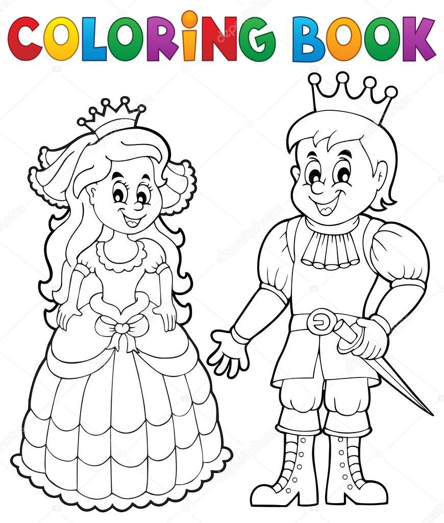 Príncipe y princesa libro para colorear — Archivo Imágenes ...