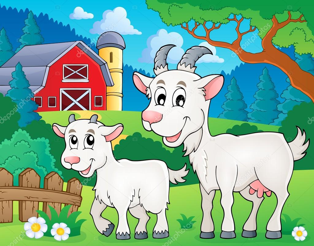 Картинка для детей коза и козленок
