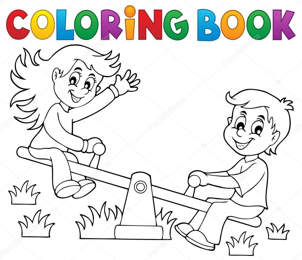 Niños de libro para colorear tema balancín 1 — Archivo Imágenes ...