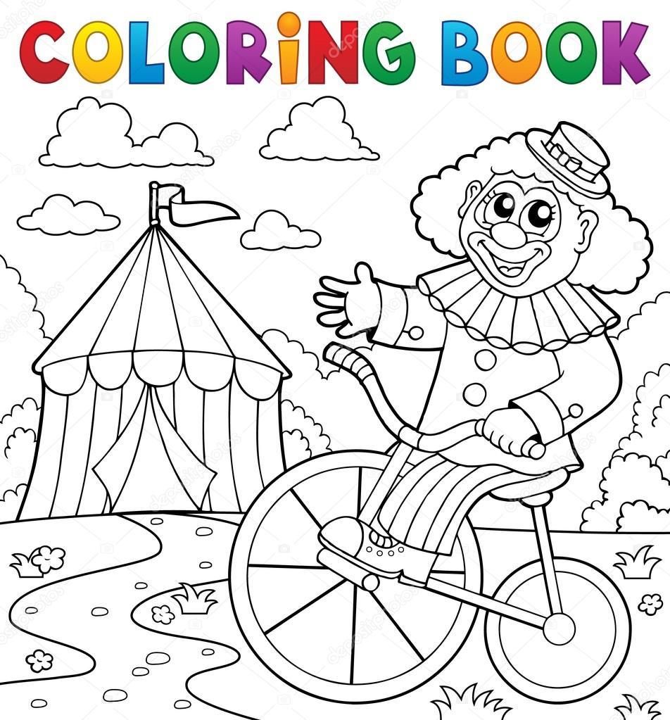 Coloring Book Clown Near Circus Theme 3 Stock Vector C Clairev
