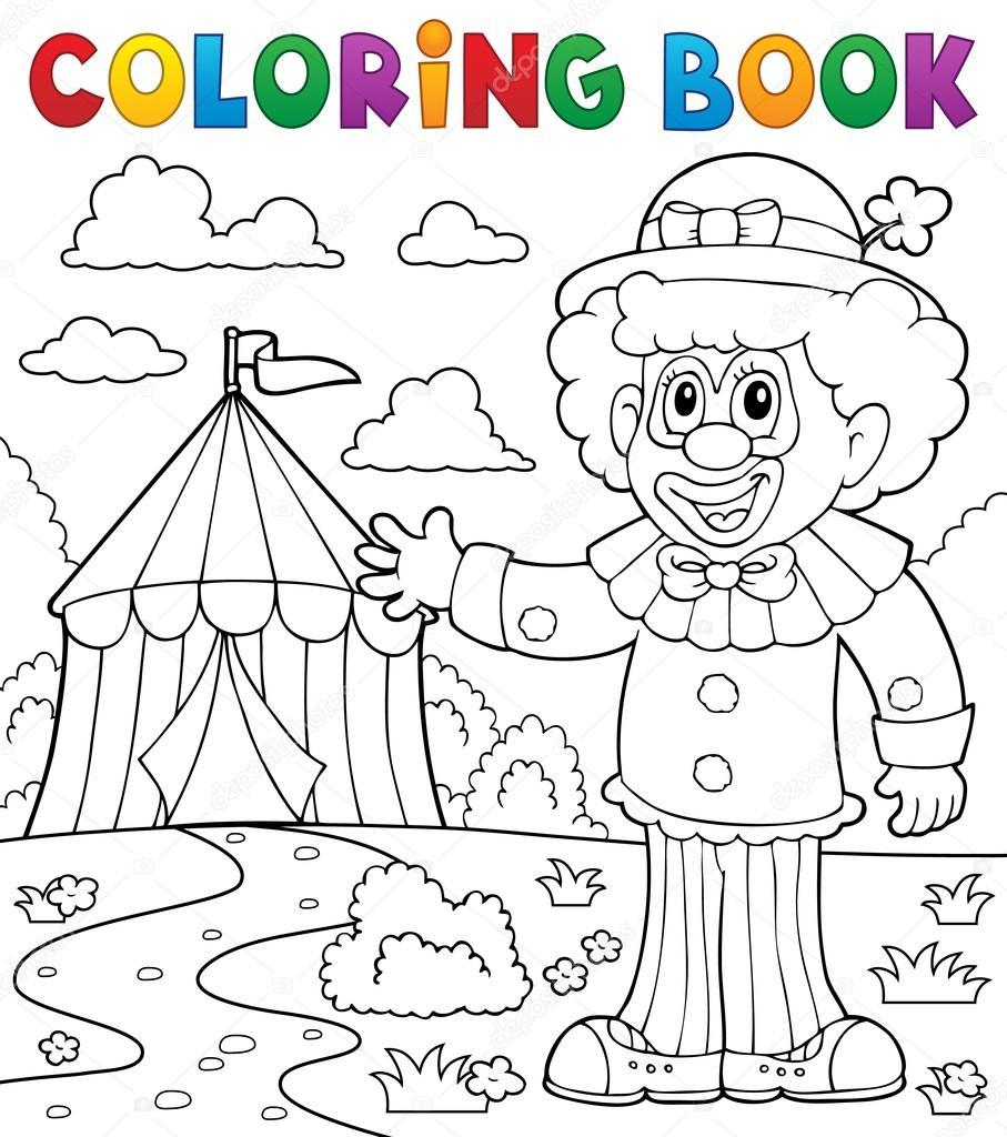 Kleurplaat Boek Clown In De Buurt Van Circus Thema 1 Stockvector