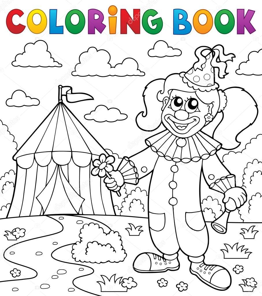 Coloring book clown near circus theme 7 — Stock Vector © clairev ...