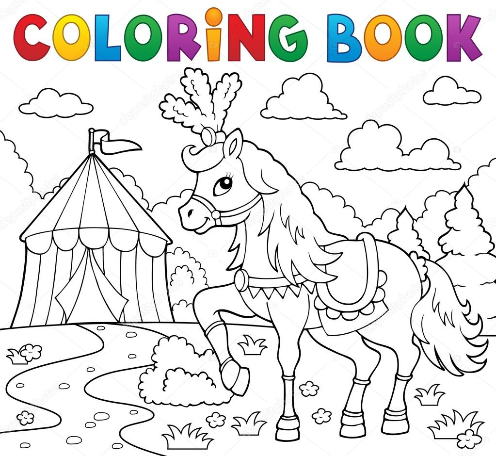 Kleurplaat Boek Paard In De Buurt Van Circus Thema 1