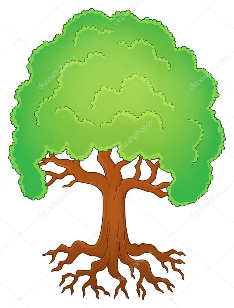 Дерево с корнями тема изображения 1 — Векторное ...