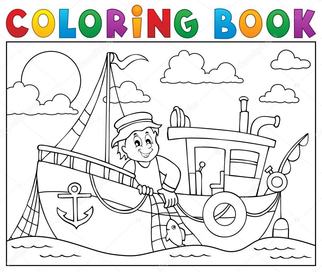 Colorear libro con tema de barco de pesca 1 — Vector de stock ...