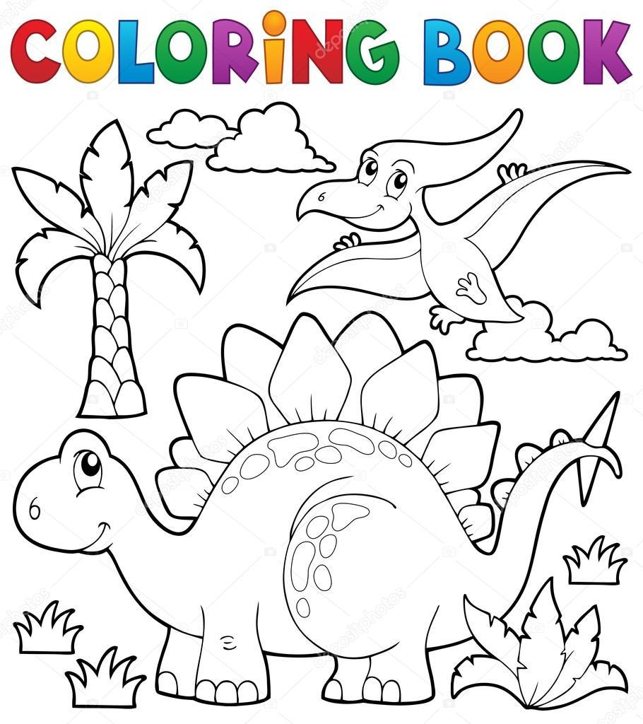 tema de dinossauro para colorir livro 1 vetores de stock clairev