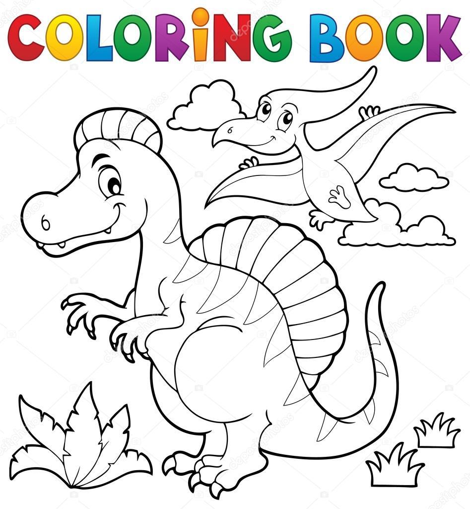 Tema de dinosaurio de libro para colorear 2 — Vector de stock ...