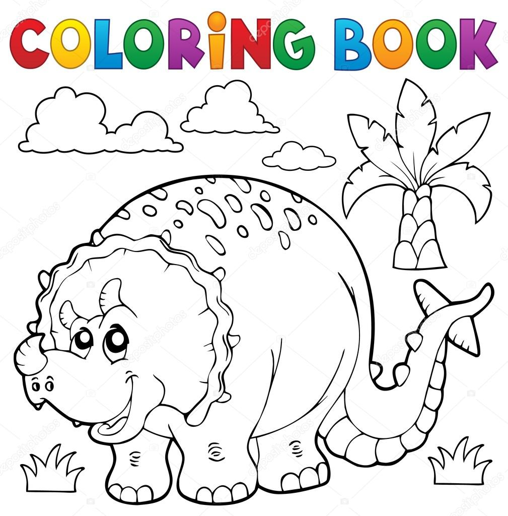 tema de dinossauro para colorir livro 6 vetor de stock clairev