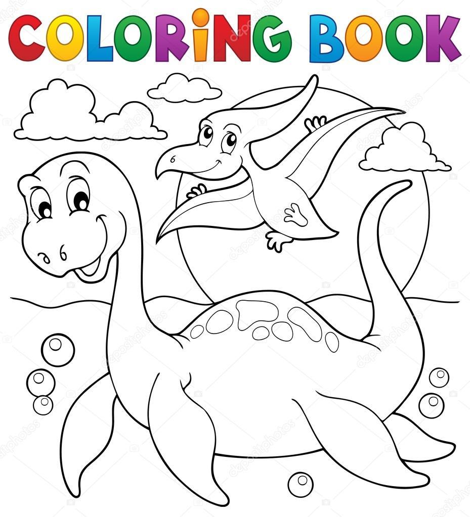 Tema de dinosaurios para colorear libro 7 — Archivo Imágenes ...