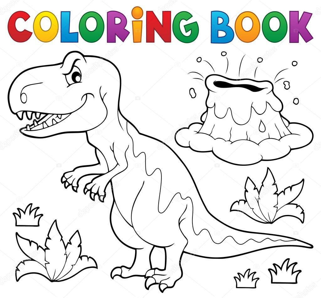 Tema de dinosaurio de libro para colorear 1 — Vector de stock ...