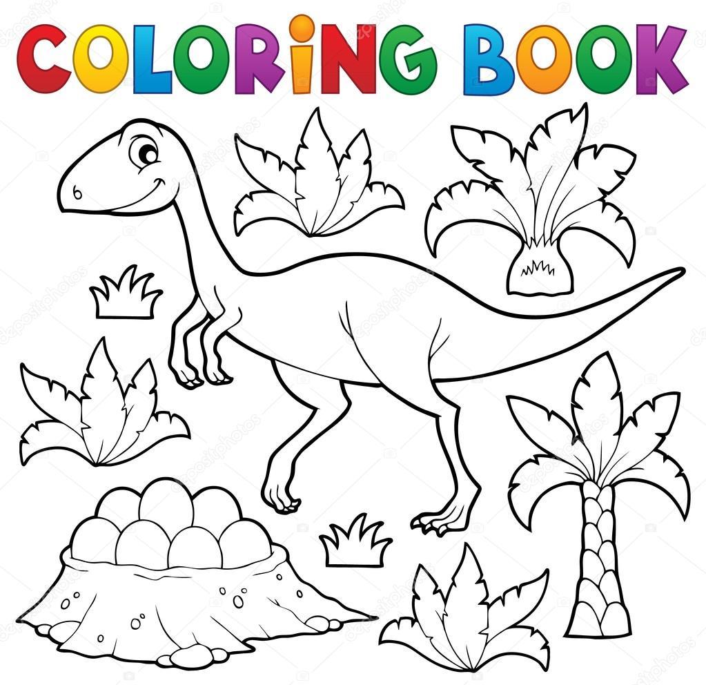 Tema de dinosaurios para colorear libro 4 — Vector de stock ...