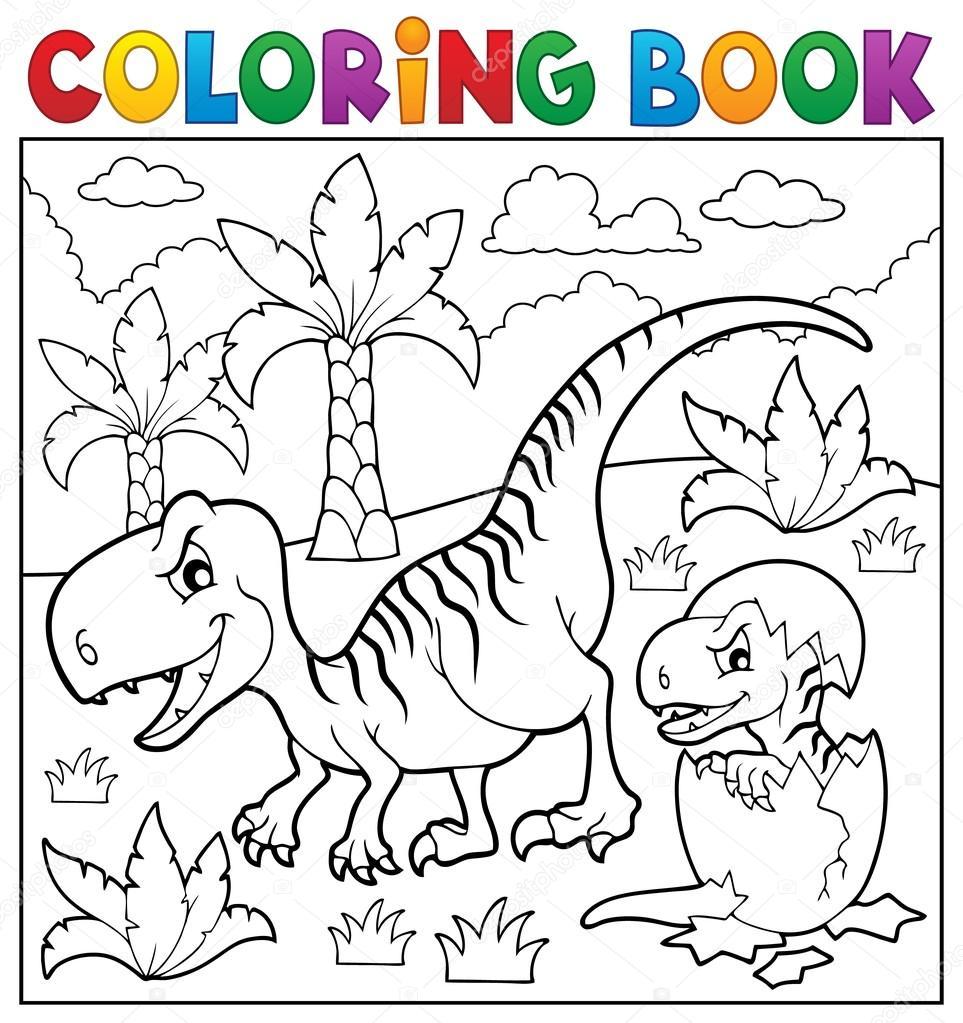 tema de dinossauro para colorir livro 9 vetor de stock clairev