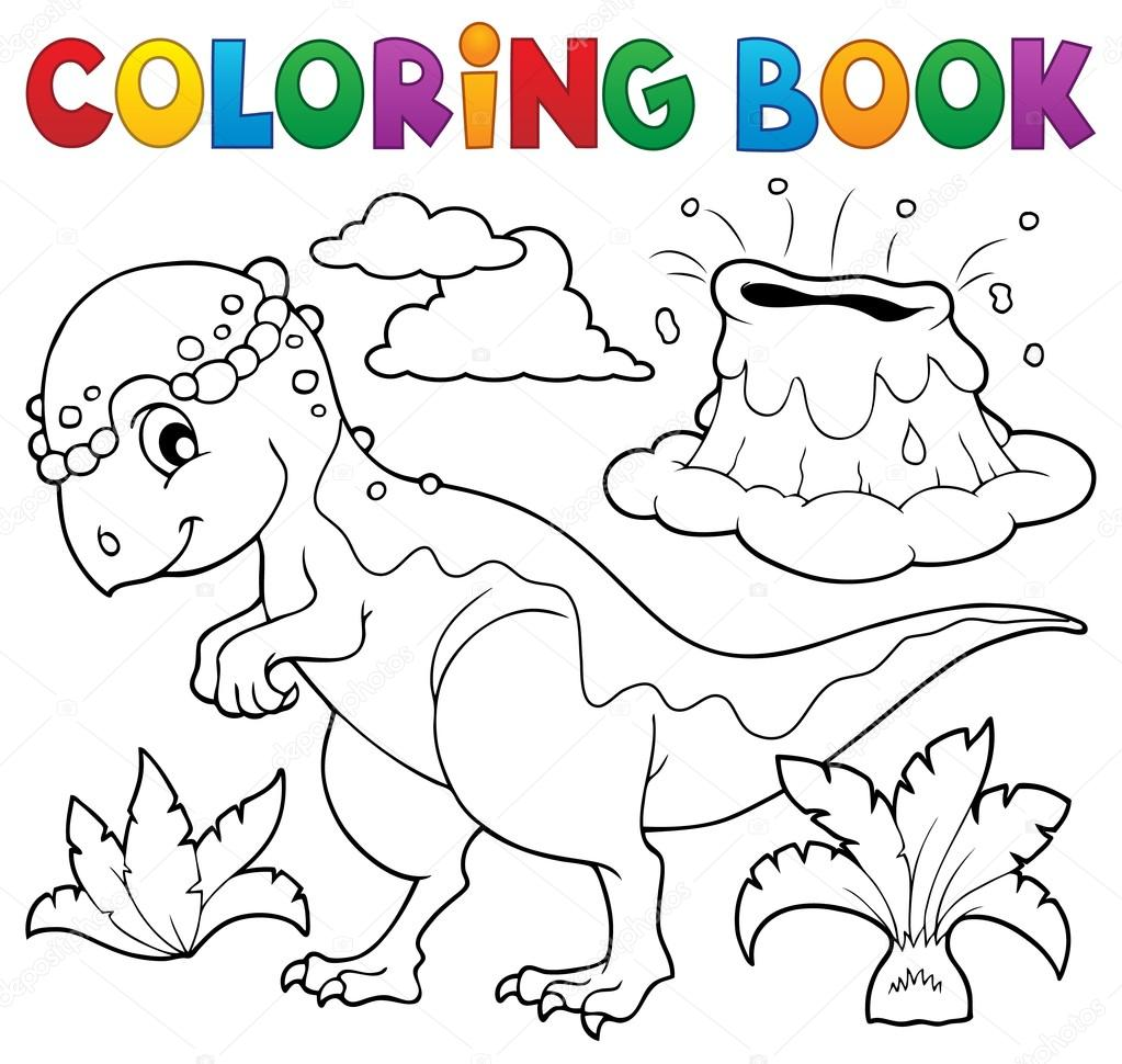 Tema de dinosaurios para colorear libro 5 — Vector de stock ...