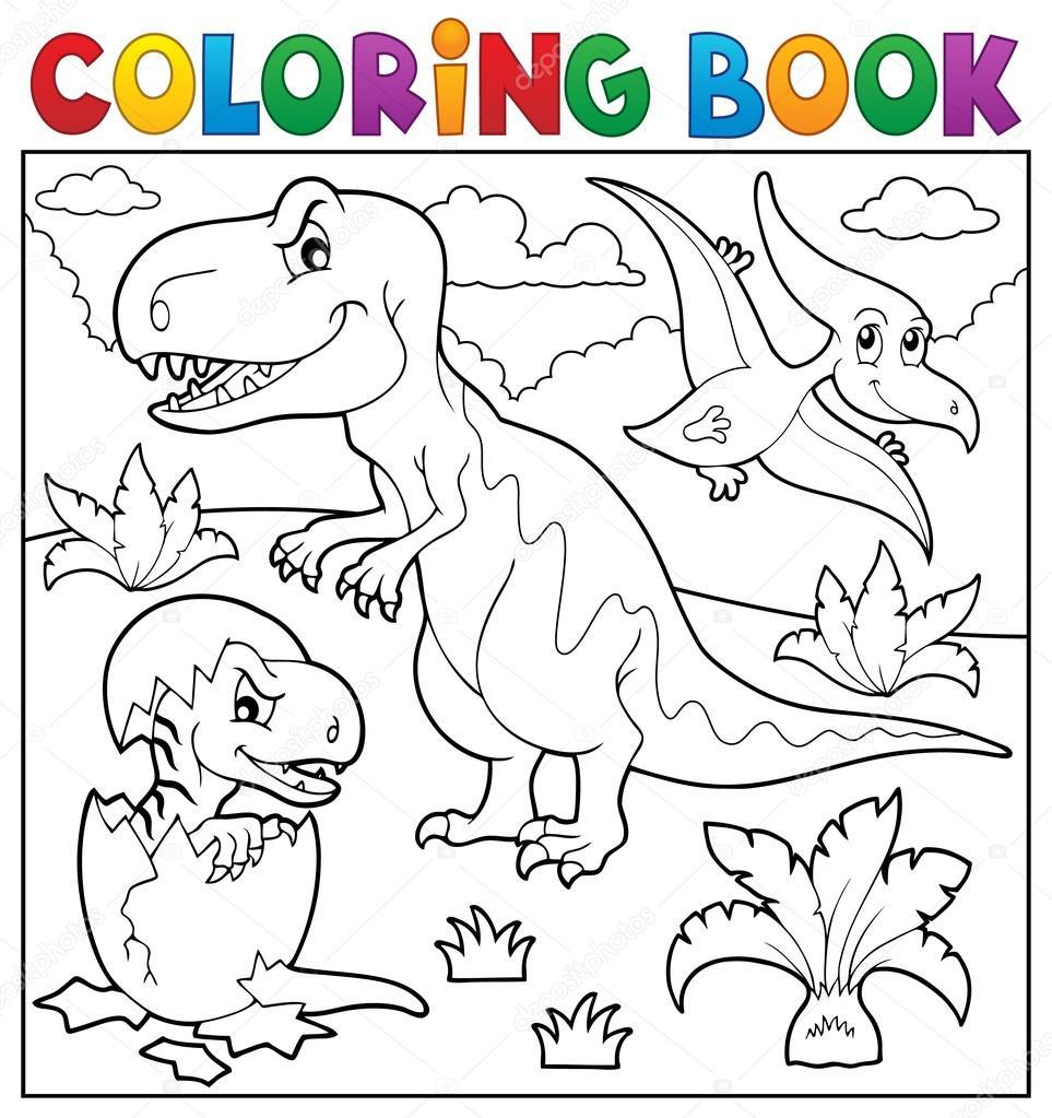 Tema de dinosaurios para colorear libro 9 — Archivo Imágenes ...