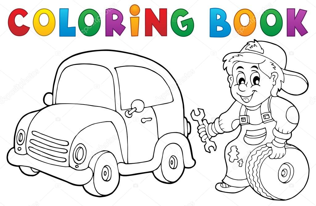 colorir carro mecânico tema de livro 1 vetores de stock clairev