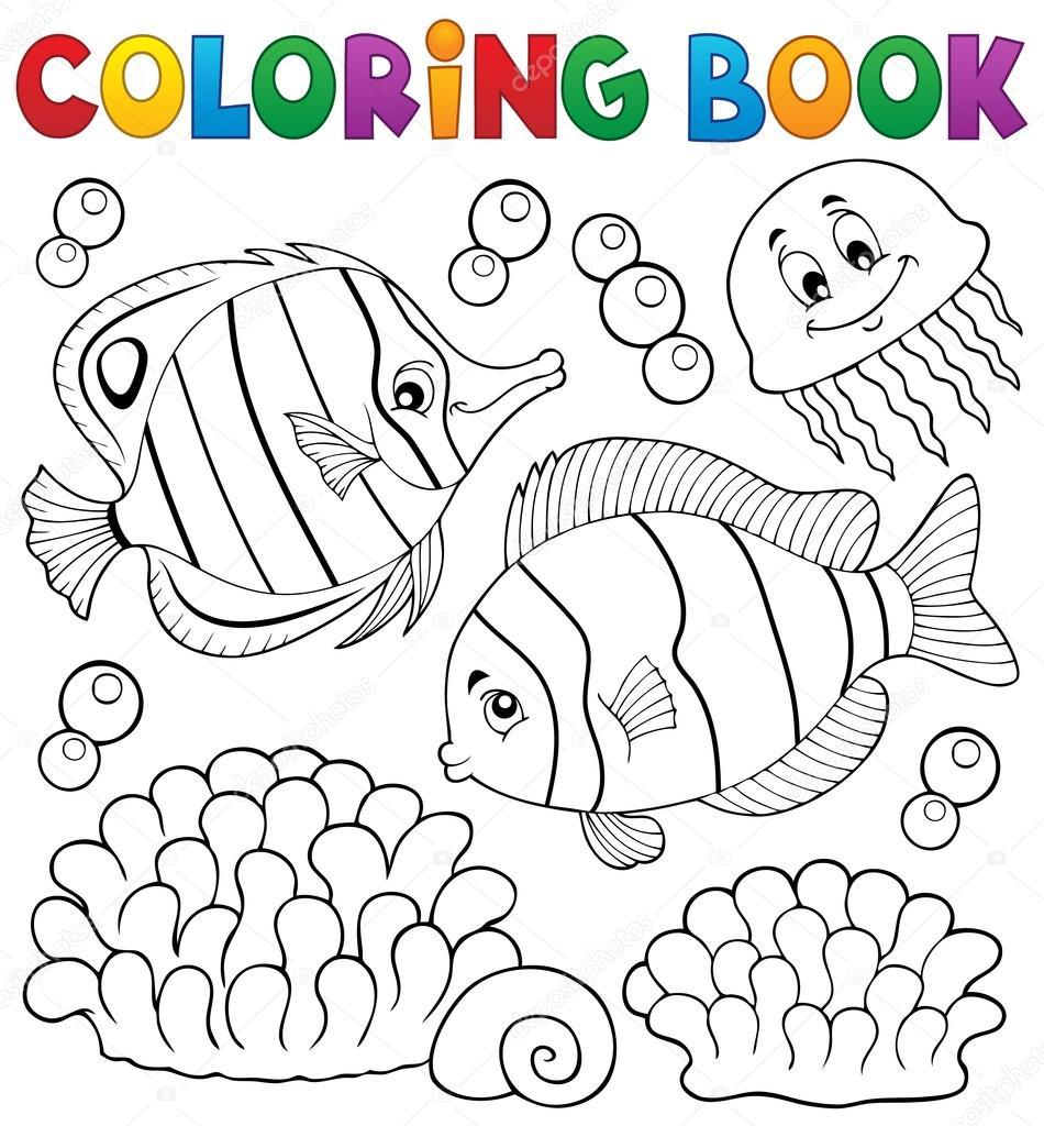Para colorear tema peces coralinos de libro 2 — Archivo Imágenes ...