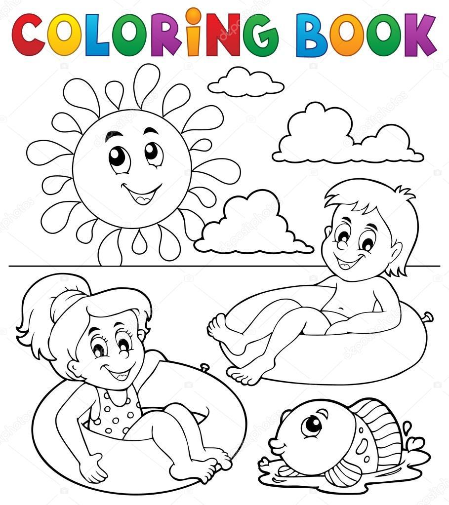 Colorear niños de libro en nadar anillos 1 — Archivo Imágenes ...