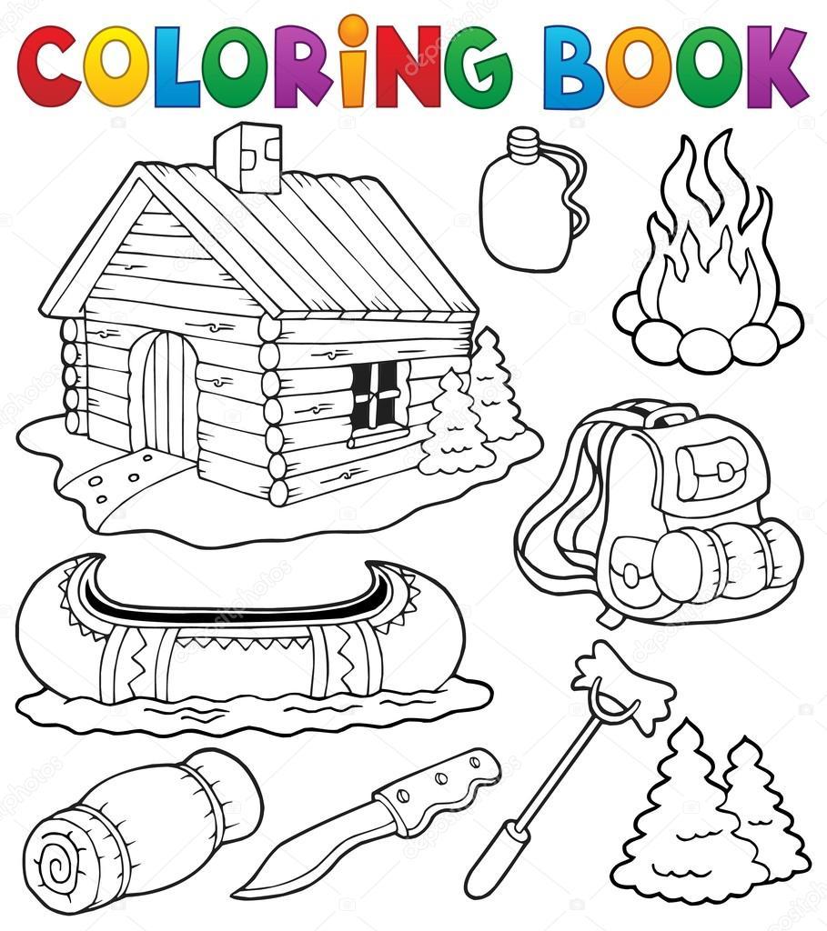 Colección de objetos al aire libre de libro para colorear — Archivo ...