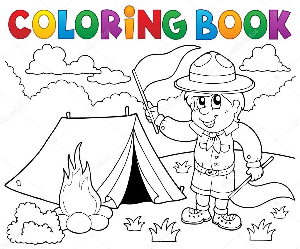 Muchacho de scout de libro para colorear con banderas — Archivo ...
