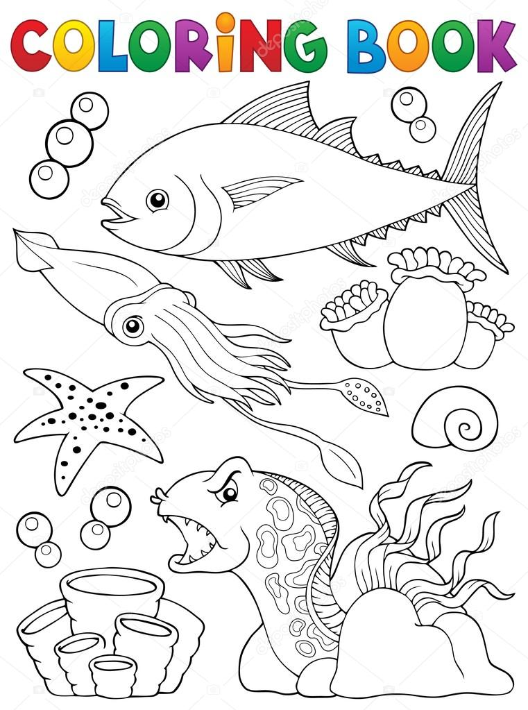 Tema de vida marina de libro para colorear 1 — Archivo Imágenes ...