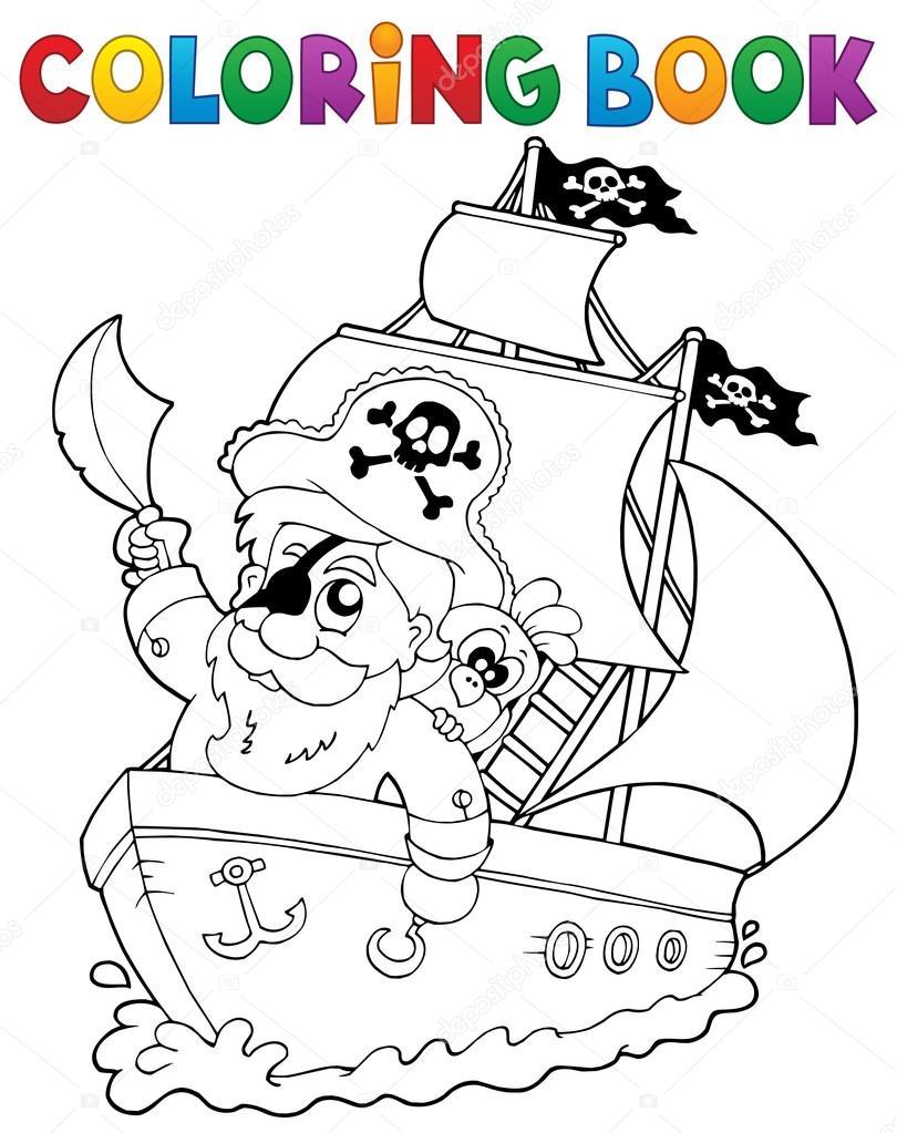 Boyama Kitabı Gemi Korsan 2 Ile Stok Vektör Clairev 115468998