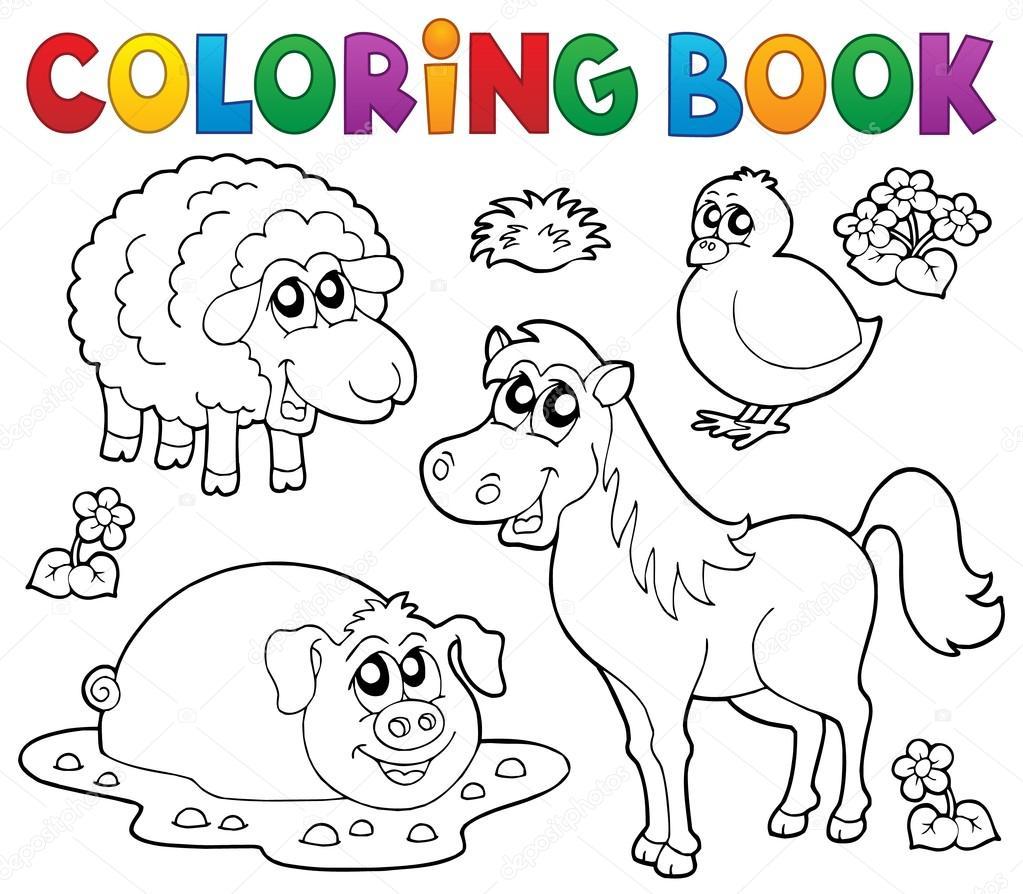 Libro para colorear con animales de granja 4 — Vector de stock ...