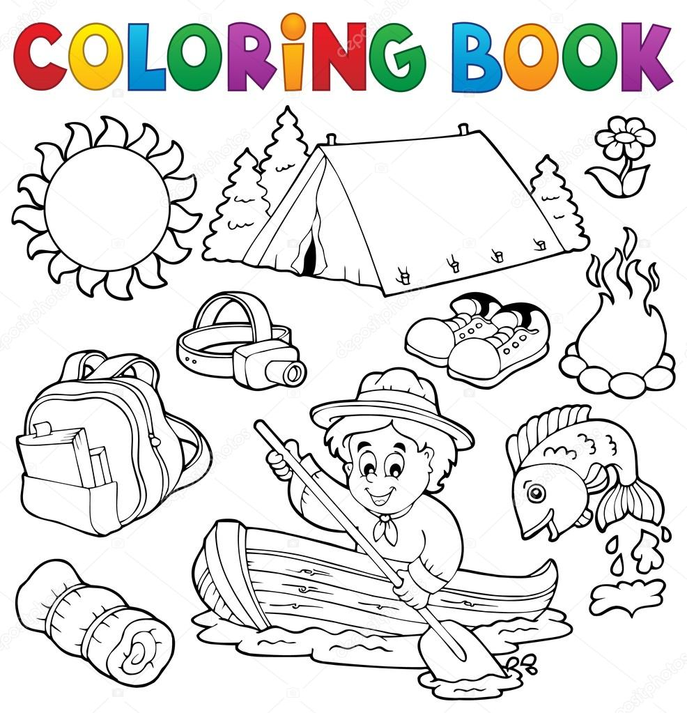 Colección al aire libre del verano de libro para colorear — Archivo ...