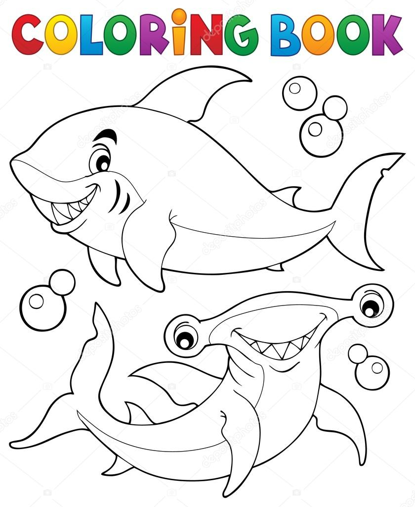 раскраска с двумя акулы векторное изображение Clairev