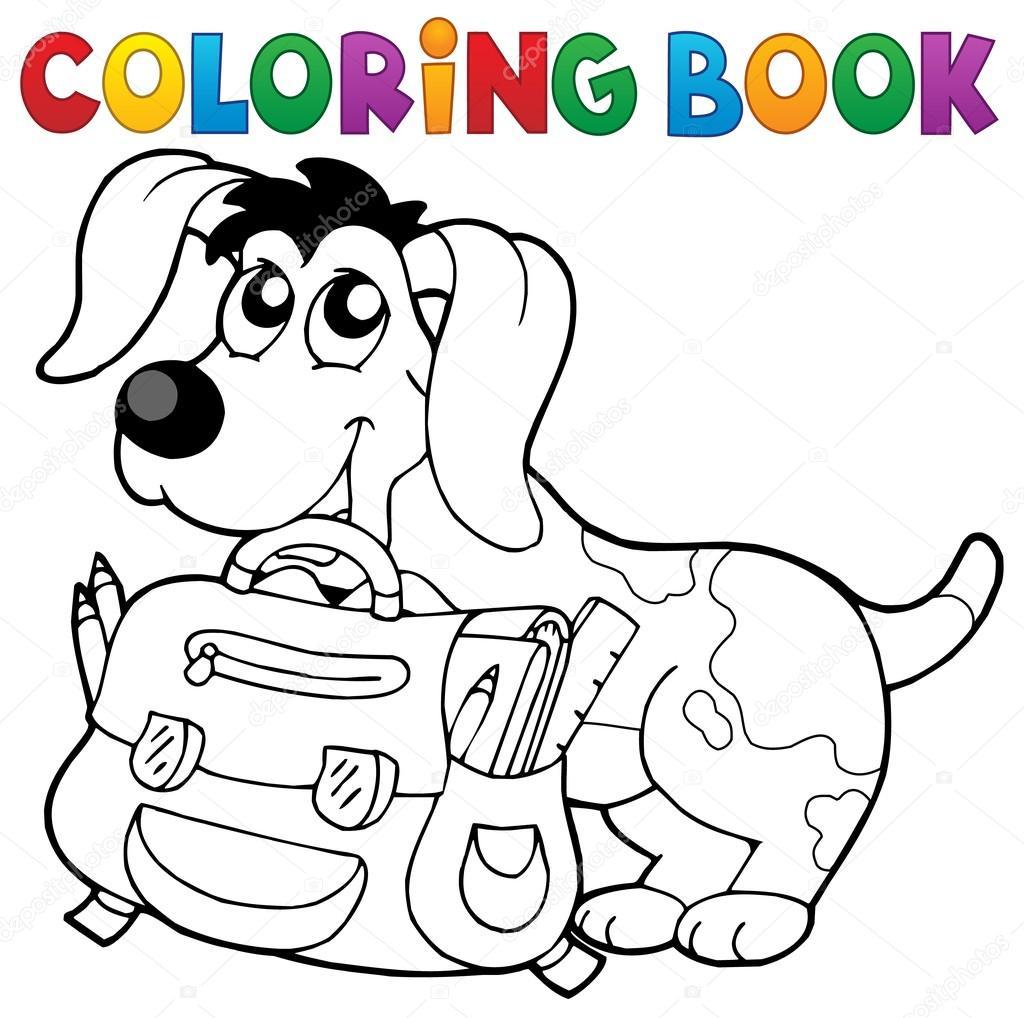 Perro de libro para colorear con tema de cartera 2 — Vector de stock ...