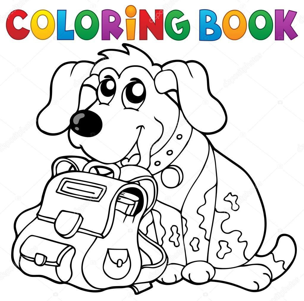 Perro De Libro Para Colorear Con Tema De Cartera 1 Archivo