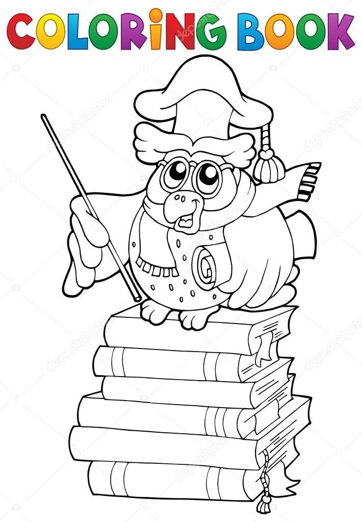 Tema de profesor de búho para colorear libro 2 — Vector de stock ...