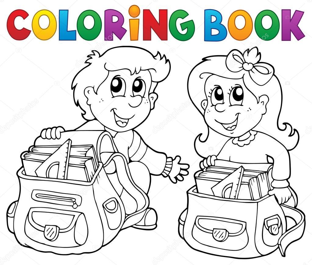 Coloriage Theme Ecole.Coloriage Livre Scolaire Enfants Theme 3 Image Vectorielle Clairev