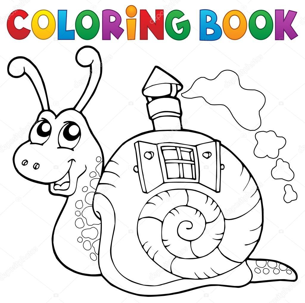 Caracol de libro para colorear con la casa de shell — Archivo ...
