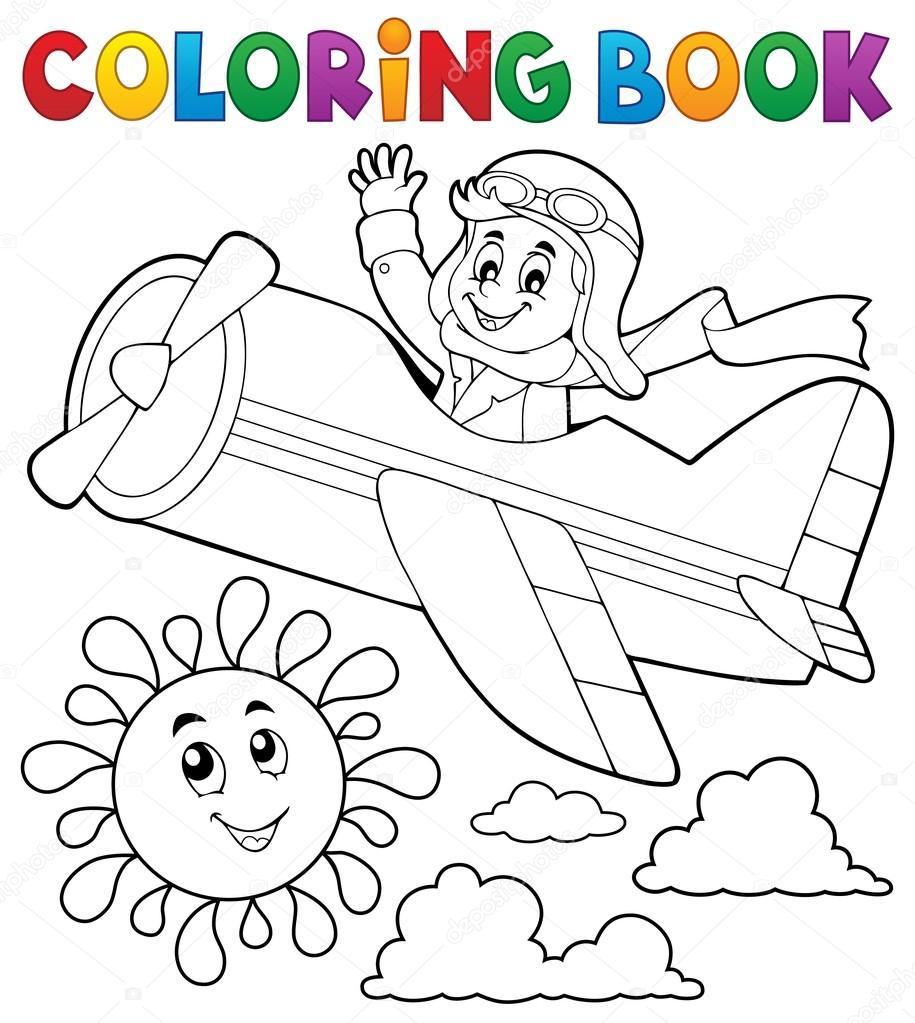 boek piloot in retro vliegtuig kleurplaten stockvector