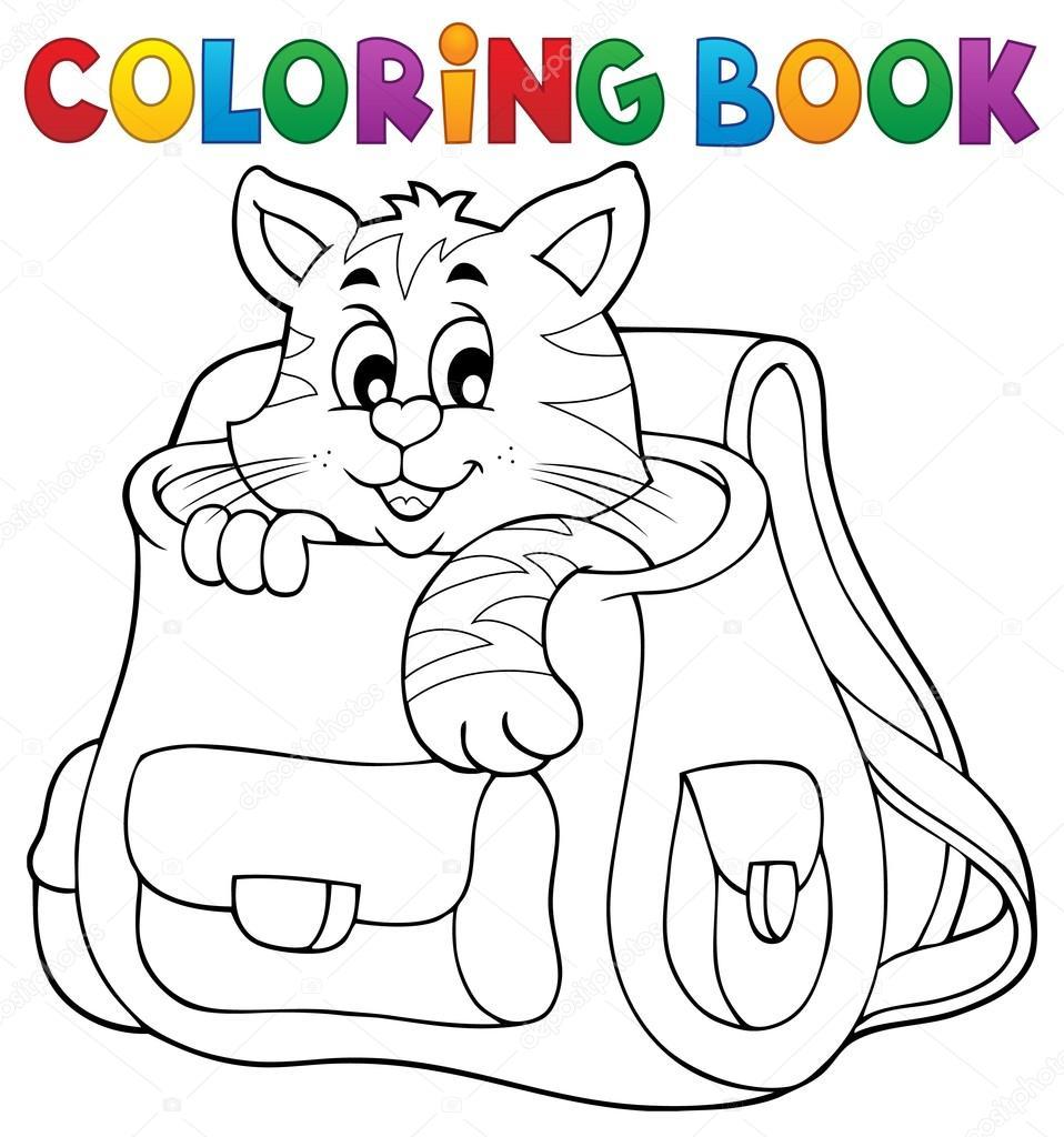 Coloriage chat de livre dans le cartable image vectorielle clairev 119158432 - Cartable a colorier ...