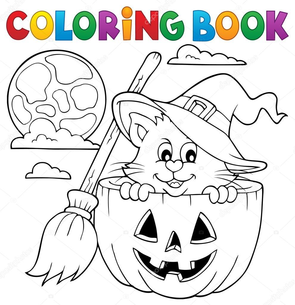Thema Kleurplaten Halloween.Kleurplaat Boek Halloween Kat Thema 1 Stockvector C Clairev 119158864