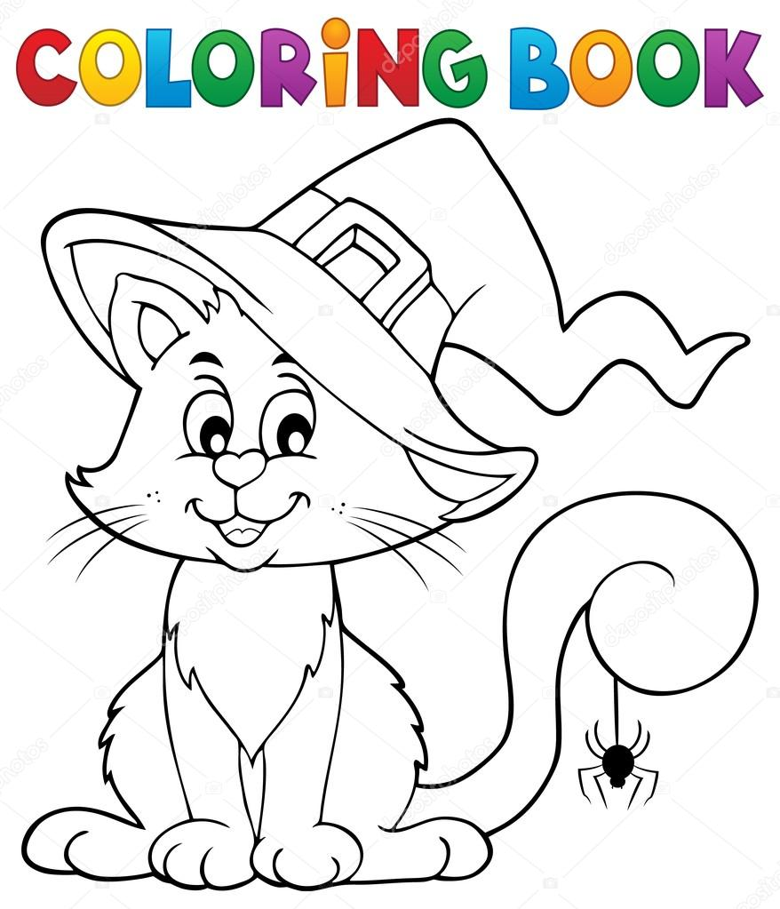 Malvorlagen Halloween Katze Buchthema 2 — Stockvektor © clairev ...