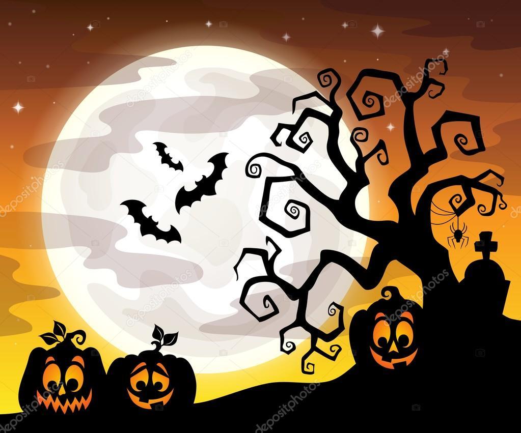 halloween tree silhouette theme 3 stock vector