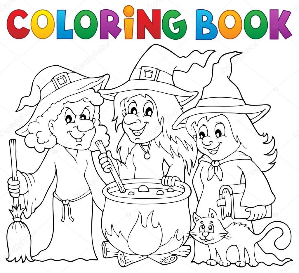 kleurplaat boek drie heksen thema 1 stockvector