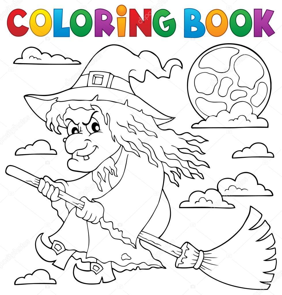 Colorear bruja libro sobre tema de escoba 1 — Archivo Imágenes ...