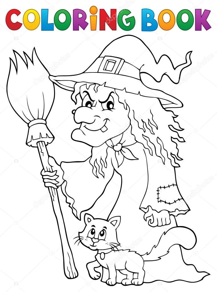 Disegni Da Colorare Libro Strega Con Il Gatto E Scopa Vettoriali