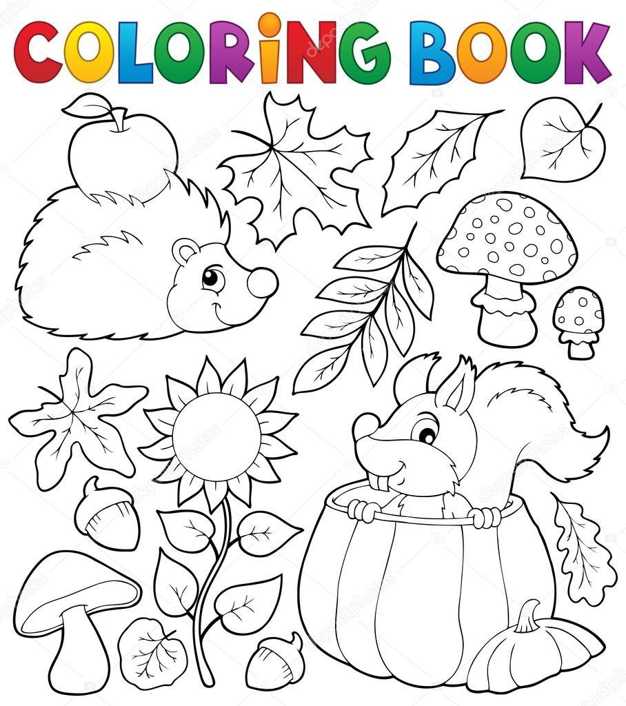 Kleurplaat Boek Herfst Natuur Thema 1 Stockvector