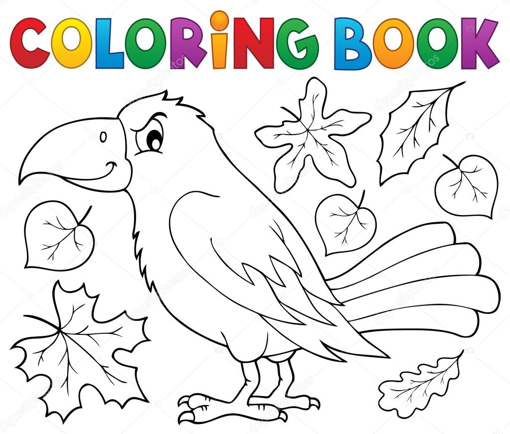Coloring Book With Crow And Leaves Stock Vector C Clairev 122377230